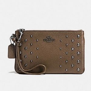 NWOT Coach Brown Studded Wristlet Leather Clutch